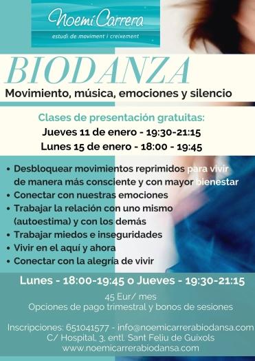 Cartell biodansa setmanal castellano