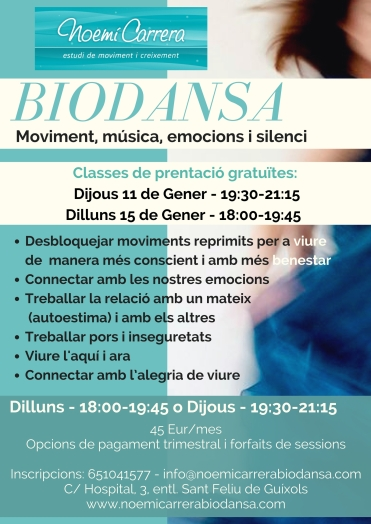 Cartell biodansa setmanal